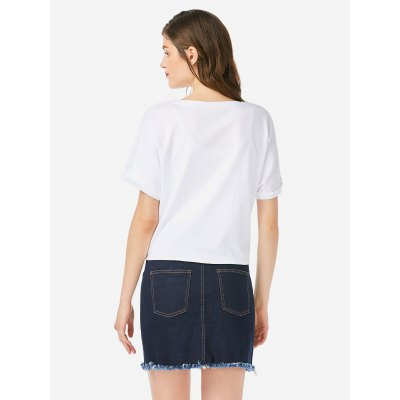 ZANSTYLE Women Crew Neck Knotted White T Shirt