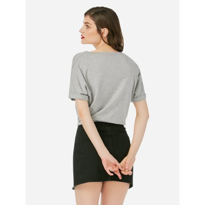 ZANSTYLE Women Crew Neck Knotted Gray T ShirtTees<br>ZANSTYLE Women Crew Neck Knotted Gray T Shirt<br>