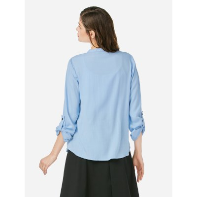 ZANSTYLE Women Long Sleeve Pleated Blue BlouseBlouses<br>ZANSTYLE Women Long Sleeve Pleated Blue Blouse<br>