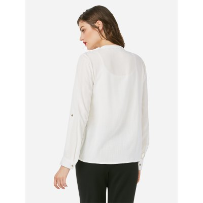 ZANSTYLE Women Long Sleeve Pleated White BlouseBlouses<br>ZANSTYLE Women Long Sleeve Pleated White Blouse<br>