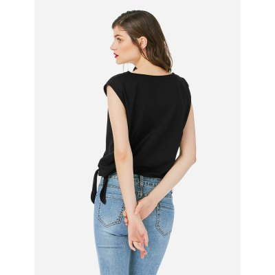 ZANSTYLE Women Crew Neck Knotted Black TopTees<br>ZANSTYLE Women Crew Neck Knotted Black Top<br>