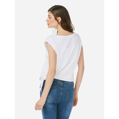 ZANSTYLE Women Crew Neck Knotted White Top