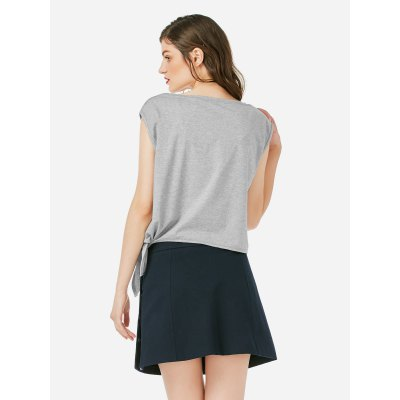 ZANSTYLE Women Crew Neck Knotted Gray Top