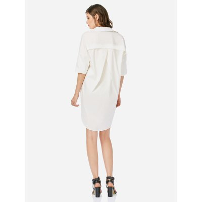 ZANSTYLE Women White Collar DressMini Dresses<br>ZANSTYLE Women White Collar Dress<br>