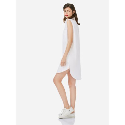 ZANSTYLE Women Sleeveless White Shirt DressMidi-Dress<br>ZANSTYLE Women Sleeveless White Shirt Dress<br>