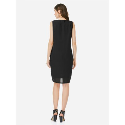 ZANSTYLE Women V Neck Sleeveless Black DressSleeveless Dresses<br>ZANSTYLE Women V Neck Sleeveless Black Dress<br>
