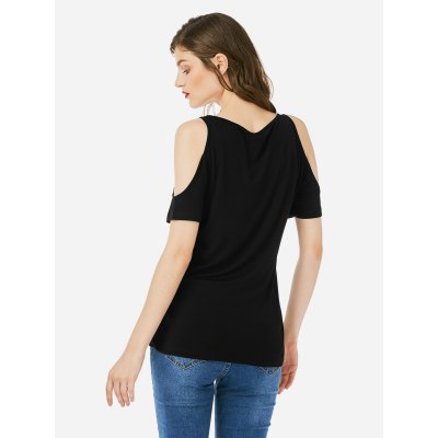 ZANSTYLE Women Open Shoulder Black Top TeeTees<br>ZANSTYLE Women Open Shoulder Black Top Tee<br>