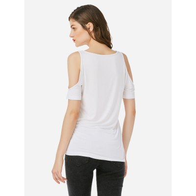 ZANSTYLE Women Open Shoulder White Top Tee
