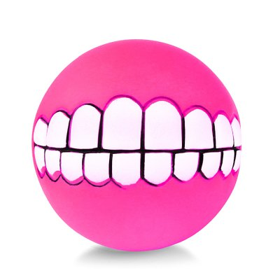 Pet Dog Chew Toy Soft Bucktooth Pattern Squeaky Ball