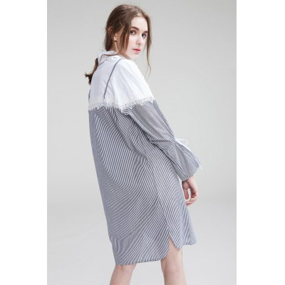 Loose False Two-piece Women Shirt DressLong Sleeve Dresses<br>Loose False Two-piece Women Shirt Dress<br><br>Dresses Length: Mini<br>Embellishment: Spliced<br>Material: Polyester<br>Neckline: Turn-down Collar<br>Occasion: Beach and Summer, Work, Casual<br>Package Contents: 1 x Dress<br>Package size: 36.00 x 4.00 x 28.00 cm / 14.17 x 1.57 x 11.02 inches<br>Package weight: 0.3800 kg<br>Pattern Type: Striped<br>Product weight: 0.3200 kg<br>Season: Summer<br>Silhouette: Straight<br>Size: L,M,S<br>Sleeve Length: Long Sleeves<br>Style: Cute<br>With Belt: No