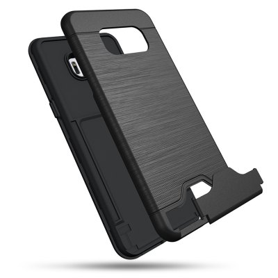 Brushed Finish Phone Case CoverSamsung Cases/Covers<br>Brushed Finish Phone Case Cover<br><br>Color: Black<br>Compatible with: Samsung Galaxy S8<br>Features: Anti-knock, Back Cover, Bumper Frame, Cases with Stand, With Credit Card Holder<br>Material: PC, TPU<br>Package Contents: 1 x Phone Case<br>Package size (L x W x H): 21.50 x 14.00 x 2.20 cm / 8.46 x 5.51 x 0.87 inches<br>Package weight: 0.0830 kg<br>Product size (L x W x H): 15.40 x 7.20 x 1.20 cm / 6.06 x 2.83 x 0.47 inches<br>Product weight: 0.0560 kg<br>Style: Modern, Solid Color, Cool