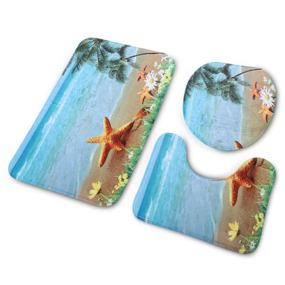 Beach Starfish Bathroom Toilet Rug Mat SetOther Bathroom Accessories<br>Beach Starfish Bathroom Toilet Rug Mat Set<br><br>Material: PVC<br>Package Contents: 1 x Bathroom Rug Set<br>Package size (L x W x H): 74.00 x 45.00 x 3.00 cm / 29.13 x 17.72 x 1.18 inches<br>Package weight: 0.4480 kg