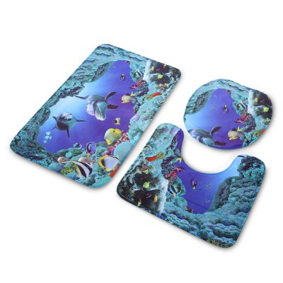 Sea Fish Bathroom Toilet Rug Mat SetOther Bathroom Accessories<br>Sea Fish Bathroom Toilet Rug Mat Set<br><br>Material: PVC<br>Package Contents: 1 x Bathroom Rug Set<br>Package size (L x W x H): 74.00 x 45.00 x 3.00 cm / 29.13 x 17.72 x 1.18 inches<br>Package weight: 0.4480 kg