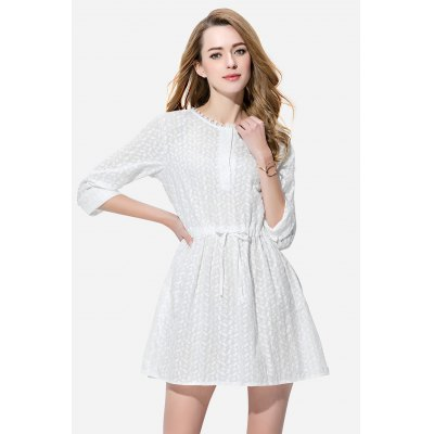 Women Single-breasted Round Neck Dress