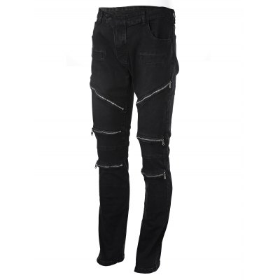 Slim Zipper Jeans with Straight Leg
