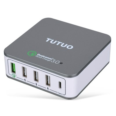 TUTUO QC020PT USB ChargerPlugs &amp; Sockets<br>TUTUO QC020PT USB Charger<br><br>Brand: TUTUO<br>Input Voltage: 3.6V - 12V<br>Model: QC020PT<br>Output Current: 2.4A<br>Package Contents: 1 x TUTUO QC020PT USB Charger, 1 x Charger Adapter, 1 x English Manual<br>Package size (L x W x H): 16.50 x 13.00 x 3.50 cm / 6.5 x 5.12 x 1.38 inches<br>Package weight: 0.3100 kg<br>Product size (L x W x H): 8.00 x 8.00 x 2.80 cm / 3.15 x 3.15 x 1.1 inches<br>Product weight: 0.2500 kg<br>Special function: Type-C ports<br>Standard: All in One