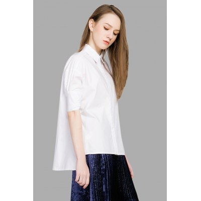 100 Cotton Asymmetric Hem White BlouseBlouses<br>100 Cotton Asymmetric Hem White Blouse<br><br>Collar: Turn-down Collar<br>Color: White<br>Elasticity: Micro-elastic<br>Embellishment: Button<br>Material: Cotton<br>Package Content: 1 x Blouse<br>Package size (L x W x H): 36.00 x 27.00 x 0.50 cm / 14.17 x 10.63 x 0.2 inches<br>Package weight: 0.2400 kg<br>Pattern Type: Solid<br>Product weight: 0.2000 kg<br>Season: Spring, Fall, Summer<br>Shirt Length: Regular<br>Sleeve Length: Half Sleeves<br>Style: Fashion