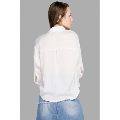 Front Pocket Novel Asymmetric White BlouseBlouses<br>Front Pocket Novel Asymmetric White Blouse<br><br>Collar: Turn-down Collar<br>Color: White<br>Elasticity: Elastic<br>Embellishment: Pockets<br>Material: Polyester<br>Package Content: 1 x Blouse<br>Package size (L x W x H): 36.00 x 27.00 x 0.50 cm / 14.17 x 10.63 x 0.2 inches<br>Package weight: 0.1900 kg<br>Pattern Type: Solid<br>Product weight: 0.1500 kg<br>Season: Spring, Fall, Summer<br>Shirt Length: Regular<br>Sleeve Length: 3/4 Length Sleeves<br>Style: Fashion