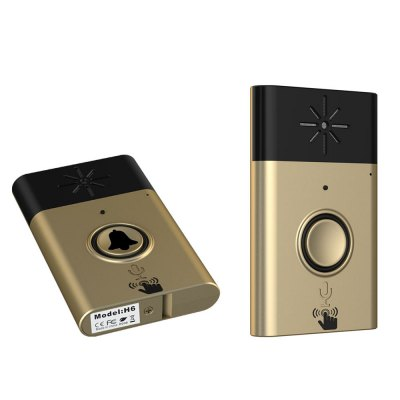 H6 Wireless Voice Intercom DoorbellAccess Control<br>H6 Wireless Voice Intercom Doorbell<br><br>Color: Black,Gold<br>Material: Plastic<br>Model: H6<br>Package Contents: 1 x Outdoor Bell, 1 x Indoor Bell, 1 x USB Cable ( 44cm ), 1 x Screw Driver, 1 x English User Manual, 2 x Adhesive<br>Package size (L x W x H): 20.00 x 13.00 x 3.50 cm / 7.87 x 5.12 x 1.38 inches<br>Package weight: 0.2300 kg<br>Product weight: 0.1460 kg