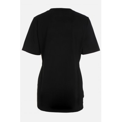 Asymmetric Hem Side Slit Embroidered T ShirtTees<br>Asymmetric Hem Side Slit Embroidered T Shirt<br><br>Clothing Length: Regular<br>Collar: Round Collar<br>Color: Black,White<br>Elasticity: Micro-elastic<br>Material: Cotton<br>Package Contents: 1 x T Shirt<br>Package size: 37.00 x 30.00 x 2.00 cm / 14.57 x 11.81 x 0.79 inches<br>Package weight: 0.1600 kg<br>Pattern Type: Letter, Floral<br>Product weight: 0.1150 kg<br>Season: Summer<br>Sleeve Length: Short Sleeves<br>Style: Casual