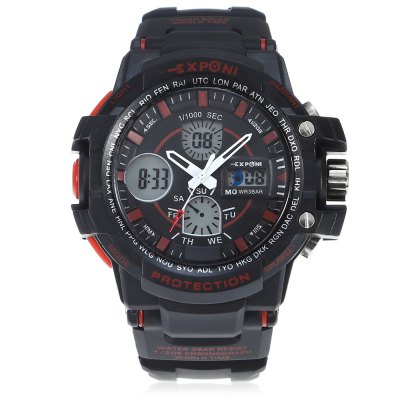 EXPONI 3205 Backlight Outdoor Sports Digital Quartz WatchSports Watches<br>EXPONI 3205 Backlight Outdoor Sports Digital Quartz Watch<br><br>Available Color: Blue,Orange,Red,White<br>Band material: Rubber<br>Band size: 27 x 3.00 cm / 10.6 x 1.18 inches<br>Brand: EXPONI<br>Case material: Rubber<br>Clasp type: Pin buckle<br>Dial size: 5.20 x 1.70 cm / 10.63 x 2.05 x 0.67 inches<br>Display type: Analog-Digital<br>Movement type: Quartz + digital watch<br>Package Contents: 1 x EXPONI 3205 Digital Quartz Watch<br>Package size (L x W x H): 9.00 x 6.00 x 7.00 cm / 3.54 x 2.36 x 2.76 inches<br>Package weight: 0.1500 kg<br>People: Female table,Male table<br>Product size (L x W x H): 27.00 x 5.20 x 1.70 cm / 10.63 x 2.05 x 0.67 inches<br>Product weight: 0.0700 kg<br>Shape of the dial: Round<br>Special features: Alarm Clock, Stopwatch<br>Watch style: Outdoor Sports<br>Water resistance : 30 meters<br>Wearable length: 15.5 - 23.00 cm / 6.10 - 9.05 inches