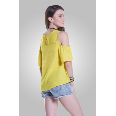 Polka Dot Cold Shoulder Tops with Round NeckBlouses<br>Polka Dot Cold Shoulder Tops with Round Neck<br><br>Collar: Round Collar<br>Elasticity: Nonelastic<br>Material: 100% Polyester<br>Package Content: 1 x Blouse<br>Package size (L x W x H): 35.00 x 2.00 x 26.00 cm / 13.78 x 0.79 x 10.24 inches<br>Package weight: 0.1400 kg<br>Pattern Type: Polka Dot<br>Product weight: 0.1000 kg<br>Season: Summer<br>Shirt Length: Regular<br>Sleeve Length: Short Sleeves<br>Sleeve Type: Cold Shoulder<br>Style: Fashion