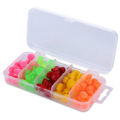 125pcs 5-color Corn-shaped Soft Fishing Bait with Storage Box