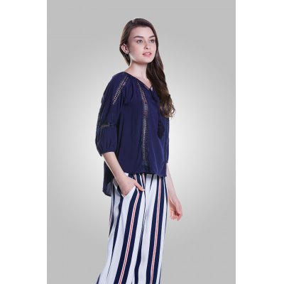 Three Quarter Sleeve Hollow-out BlouseBlouses<br>Three Quarter Sleeve Hollow-out Blouse<br><br>Collar: Round Collar<br>Elasticity: Nonelastic<br>Embellishment: Lace up,Mesh<br>Material: Viscose<br>Package Content: 1 x Blouse<br>Package size (L x W x H): 36.00 x 2.00 x 27.00 cm / 14.17 x 0.79 x 10.63 inches<br>Package weight: 0.1700 kg<br>Pattern Type: Solid<br>Product weight: 0.1300 kg<br>Season: Fall, Summer, Spring<br>Shirt Length: Regular<br>Sleeve Length: 3/4 Length Sleeves<br>Style: Fashion
