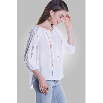 Three Quarter Sleeve Hollow-out Blouse