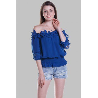 Half Sleeve Off The Shoulder BlouseBlouses<br>Half Sleeve Off The Shoulder Blouse<br><br>Collar: Off The Shoulder<br>Elasticity: Nonelastic<br>Embellishment: Appliques<br>Material: 100% Polyester<br>Package Content: 1 x Blouse<br>Package size (L x W x H): 35.00 x 2.00 x 26.00 cm / 13.78 x 0.79 x 10.24 inches<br>Package weight: 0.1600 kg<br>Pattern Type: Solid<br>Product weight: 0.1200 kg<br>Season: Fall, Summer, Spring<br>Shirt Length: Regular<br>Sleeve Length: Half Sleeves<br>Style: Fashion
