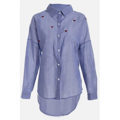 Plus Size Heart Embroidered Striped ShirtsBlouses<br>Plus Size Heart Embroidered Striped Shirts<br><br>Collar: Turn-down Collar<br>Elasticity: Nonelastic<br>Embellishment: Button Down<br>Material: Cotton, Linen<br>Package Content: 1 x Shirt<br>Package size (L x W x H): 37.00 x 30.00 x 2.00 cm / 14.57 x 11.81 x 0.79 inches<br>Package weight: 0.2400 kg<br>Pattern Type: Stripe<br>Product weight: 0.1800 kg<br>Season: Fall, Summer, Spring<br>Shirt Length: Regular<br>Sleeve Length: Long Sleeves<br>Style: Fashion