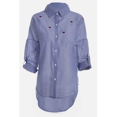 Plus Size Heart Embroidered Striped Shirts
