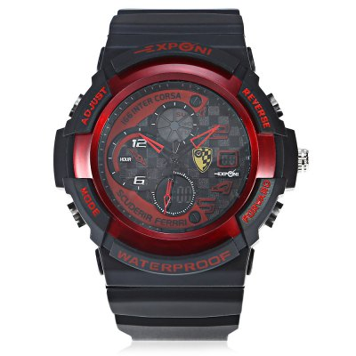 EXPONI 3250 Backlight Outdoor Sports Digital Quartz WatchSports Watches<br>EXPONI 3250 Backlight Outdoor Sports Digital Quartz Watch<br><br>Available Color: Black,Blue,Gold,Green,Red<br>Band material: Rubber<br>Band size: 25.60 x 3.00 cm / 10.70 - 1.18 inches<br>Brand: EXPONI<br>Case material: Rubber<br>Clasp type: Pin buckle<br>Dial size: 5.20 x 5.20 x 1.70 cm / 2.05 x 2.05 x 0.67 inches<br>Display type: Analog-Digital<br>Movement type: Quartz + digital watch<br>Package Contents: 1 x EXPONI 3250 Digital Quartz Watch<br>Package size (L x W x H): 9.00 x 6.00 x 7.00 cm / 3.54 x 2.36 x 2.76 inches<br>Package weight: 0.1500 kg<br>People: Female table,Male table<br>Product size (L x W x H): 25.60 x 5.20 x 1.70 cm / 10.08 x 2.05 x 0.67 inches<br>Product weight: 0.0690 kg<br>Shape of the dial: Round<br>Watch style: Outdoor Sports<br>Water resistance : 30 meters<br>Wearable length: 15.00 - 23.00 cm / 5.90 - 9.05 inches