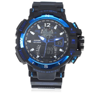 EXPONI 3236 Backlight Outdoor Sports Digital Quartz WatchSports Watches<br>EXPONI 3236 Backlight Outdoor Sports Digital Quartz Watch<br><br>Available Color: Blue,Gold,Green,Red,Silver<br>Band material: Rubber<br>Band size: 25.60 x 3.00 cm / 10.07 x 1.18 inches<br>Case material: Rubber<br>Clasp type: Pin buckle<br>Dial size: 5.20 x 5.20 x 1.70 cm / 2.05 x 2.05 x 0.67 inches<br>Display type: Analog-Digital<br>Movement type: Quartz + digital watch<br>Package Contents: 1 x EXPONI 3236 Digital Quartz Watch<br>Package size (L x W x H): 9.00 x 6.00 x 7.00 cm / 3.54 x 2.36 x 2.76 inches<br>Package weight: 0.1500 kg<br>People: Female table,Male table<br>Product size (L x W x H): 25.60 x 5.20 x 1.70 cm / 10.08 x 2.05 x 0.67 inches<br>Product weight: 0.0690 kg<br>Shape of the dial: Round<br>Watch style: Outdoor Sports<br>Water resistance : 30 meters<br>Wearable length: 14.5 - 22.5cm / 5.70 - 8.85 inches