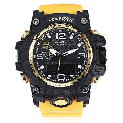 EXPONI 3239 Backlight Digital Quartz WatchSports Watches<br>EXPONI 3239 Backlight Digital Quartz Watch<br><br>Available Color: Black,Blue,Green,Red,Yellow<br>Band material: Rubber<br>Band size: 26.50 x 3.00 cm / 10.43 x 1.18 inches<br>Brand: EXPONI<br>Case material: Rubber<br>Clasp type: Pin buckle<br>Dial size: 5.20 x 5.20 x 1.70 cm / 2.05 x 2.05 x 0.67 inches<br>Display type: Analog-Digital<br>Movement type: Quartz + digital watch<br>Package Contents: 1 x EXPONI 3239 Digital Quartz Watch<br>Package size (L x W x H): 9.00 x 6.00 x 7.00 cm / 3.54 x 2.36 x 2.76 inches<br>Package weight: 0.1600 kg<br>People: Female table,Male table<br>Product size (L x W x H): 26.50 x 5.20 x 1.70 cm / 10.43 x 2.05 x 0.67 inches<br>Product weight: 0.0600 kg<br>Shape of the dial: Round<br>Watch style: Outdoor Sports<br>Water resistance : 30 meters<br>Wearable length: 15.00 - 23.00 cm / 5.90 - 9.05 inches