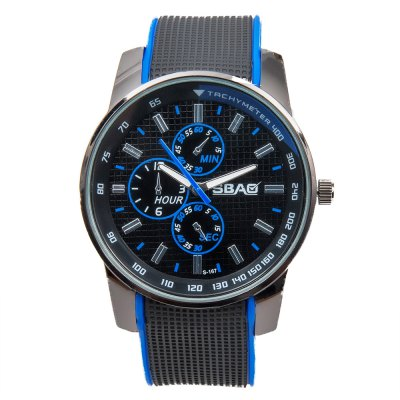 Cool Men Wrist Watch Analog with Round Dial Rubber Watch Band