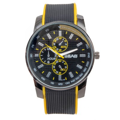 Cool Men Wrist Watch Analog with Round Dial Rubber Watch BandMens Watches<br>Cool Men Wrist Watch Analog with Round Dial Rubber Watch Band<br><br>Available Color: Blue,Green,Orange,Red,White,Yellow<br>Band color: White<br>Band material: Rubber<br>Case color: Black<br>Case material: Stainless Steel<br>Clasp type: Pin buckle<br>Display type: Analog<br>Movement type: Quartz watch<br>Package Contents: 1 x Watch<br>Package size (L x W x H): 25.30 x 5.70 x 2.00 cm / 9.96 x 2.24 x 0.79 inches<br>Package weight: 0.1060 kg<br>Product size (L x W x H): 24.30 x 4.70 x 1.00 cm / 9.57 x 1.85 x 0.39 inches<br>Product weight: 0.0560 kg<br>Shape of the dial: Round<br>Special features: Decorating small three stitches<br>Style elements: Big dial<br>The band width: 2.2 cm / 0.9 inch<br>The bottom of the table: Ordinary<br>The dial diameter: 4.3 cm / 1.7 inch<br>The dial thickness: 1.0 cm / 0.4 inch<br>Watch style: Fashion<br>Watch-head: Ordinary<br>Watches categories: Male table