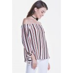 cheap Striped Long Sleeve Off The Shoulder Blouse