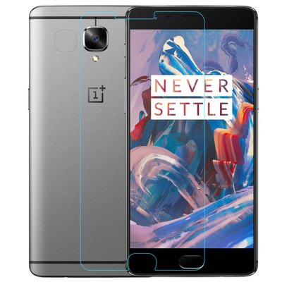 Nillkin Explosion-proof Screen FilmScreen Protectors<br>Nillkin Explosion-proof Screen Film<br><br>Brand: Nillkin<br>Compatible Model: OnePlus 3 / 3T<br>Features: Ultra thin, High-definition, High Transparency, High sensitivity, Anti-oil, Anti scratch, Anti Glare, Anti fingerprint<br>Material: Tempered Glass<br>Package Contents: 1 x Screen Film, 1 x Auxiliary Installation Kit, 1 x Sheet<br>Package size (L x W x H): 21.00 x 12.50 x 2.20 cm / 8.27 x 4.92 x 0.87 inches<br>Package weight: 0.0820 kg<br>Product weight: 0.0080 kg<br>Surface Hardness: 9H<br>Thickness: 0.33mm<br>Type: Screen Protector
