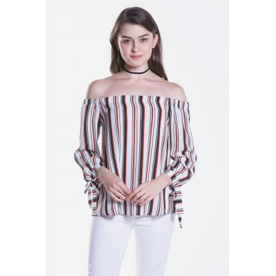 Striped Long Sleeve Off The Shoulder Blouse
