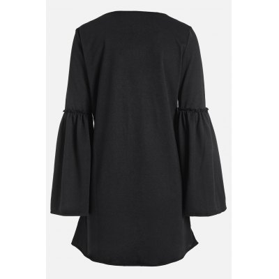 Loose Fit V Neck Flare Sleeve Long Shirts for WomenTees<br>Loose Fit V Neck Flare Sleeve Long Shirts for Women<br><br>Clothing Length: Long<br>Collar: Round Collar<br>Color: Black<br>Embellishment: Ruffles<br>Material: Cotton<br>Package Contents: 1 x Shirt<br>Package size: 35.00 x 28.00 x 2.00 cm / 13.78 x 11.02 x 0.79 inches<br>Package weight: 0.3400 kg<br>Pattern Type: Solid Color<br>Product weight: 0.3000 kg<br>Season: Spring, Fall<br>Size: L,M,S,XL<br>Sleeve Length: Long Sleeves<br>Sleeve Type: Flare Sleeve<br>Style: Fashion