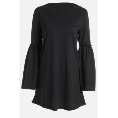 Loose Fit V Neck Flare Sleeve Long Shirts for Women