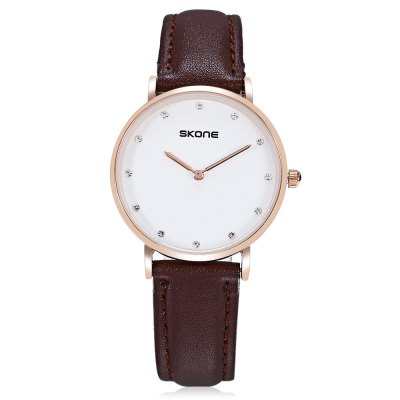 SKONE 6165L Quartz WatchWomens Watches<br>SKONE 6165L Quartz Watch<br><br>Available Color: Black,Brown<br>Band material: Leather<br>Band size: 22.30 x 1.80 cm / 8.78 x 0.70 inches<br>Brand: Skone<br>Case material: Alloy<br>Clasp type: Pin buckle<br>Dial size: 3.20 x 3.20 x 0.60 cm / 1.26 x 1.26 x 0.24 inches<br>Display type: Analog<br>Movement type: Quartz watch<br>Package Contents: 1 x SKONE Quartz Watch<br>Package size (L x W x H): 10.15 x 7.50 x 6.55 cm / 4 x 2.95 x 2.58 inches<br>Package weight: 0.1100 kg<br>Product size (L x W x H): 22.30 x 3.20 x 0.60 cm / 8.78 x 1.26 x 0.24 inches<br>Product weight: 0.0200 kg<br>Shape of the dial: Round<br>Watch style: Casual<br>Watches categories: Female table<br>Water resistance : Life water resistant<br>Wearable length: 16.00 - 20.00 cm / 6.29 - 7.87 inches