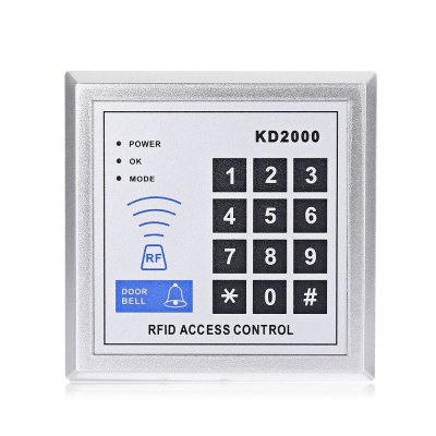 KD2000 125KHz RFID Door Access ControlAccess Control<br>KD2000 125KHz RFID Door Access Control<br><br>Model: KD2000<br>Package Contents: 1 x KD2000 125KHz RFID Door Access Control, 10 x Key Fob, 1 x English / Chinese User Manual, 3 x Screw, 2 x Screw Cap<br>Package size (L x W x H): 14.70 x 14.70 x 4.00 cm / 5.79 x 5.79 x 1.57 inches<br>Package weight: 0.2560 kg<br>Product size (L x W x H): 11.70 x 11.70 x 2.20 cm / 4.61 x 4.61 x 0.87 inches<br>Product weight: 0.1190 kg<br>Receiving Freq.: 125KHz<br>Type ( Access Control ): Access Control Systems