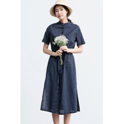 ZIMO Short Sleeve Button Shirt DressBottoms<br>ZIMO Short Sleeve Button Shirt Dress<br><br>Brand: ZIMO<br>Dresses Length: Knee-Length<br>Material: Cotton Blend, Linen<br>Package Contents: 1 x Dress<br>Package size: 36.00 x 2.00 x 27.00 cm / 14.17 x 0.79 x 10.63 inches<br>Package weight: 0.4000 kg<br>Pattern Type: Solid Color<br>Product weight: 0.3600 kg<br>Season: Fall, Summer, Spring<br>Silhouette: A-Line<br>Size: L,M,S,XL<br>Style: Casual<br>With Belt: Yes