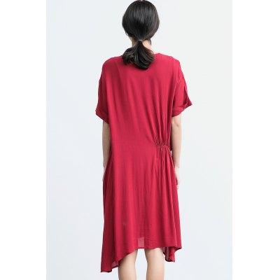 ZIMO Round Neck Side Wrinkle Asymmetrical DressBottoms<br>ZIMO Round Neck Side Wrinkle Asymmetrical Dress<br><br>Brand: ZIMO<br>Dresses Length: Knee-Length<br>Material: Viscose<br>Package Contents: 1 x Dress<br>Package size: 37.00 x 2.00 x 26.00 cm / 14.57 x 0.79 x 10.24 inches<br>Package weight: 0.3900 kg<br>Pattern Type: Solid Color<br>Product weight: 0.3500 kg<br>Season: Summer<br>Silhouette: Sheath<br>Size: L,M,S,XL<br>Style: Casual<br>With Belt: No