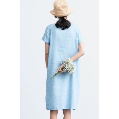 ZIMO Front Pockets Turndown Collar Shirt DressBottoms<br>ZIMO Front Pockets Turndown Collar Shirt Dress<br><br>Brand: ZIMO<br>Dresses Length: Knee-Length<br>Material: Linen, Viscose<br>Package Contents: 1 x Dress<br>Package size: 37.00 x 2.00 x 26.00 cm / 14.57 x 0.79 x 10.24 inches<br>Package weight: 0.4000 kg<br>Pattern Type: Solid Color<br>Product weight: 0.3600 kg<br>Season: Summer<br>Silhouette: Straight<br>Size: L,M,S,XL<br>Style: Casual<br>With Belt: No