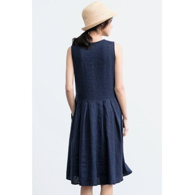 ZIMO Pure Color Sleeveless Round Neck DressBottoms<br>ZIMO Pure Color Sleeveless Round Neck Dress<br><br>Brand: ZIMO<br>Dresses Length: Knee-Length<br>Material: Linen, Viscose<br>Package Contents: 1 x Dress<br>Package size: 37.00 x 2.00 x 26.00 cm / 14.57 x 0.79 x 10.24 inches<br>Package weight: 0.4100 kg<br>Pattern Type: Solid Color<br>Product weight: 0.3800 kg<br>Season: Summer<br>Silhouette: Swing<br>Size: L,M,S,XL<br>Style: Casual<br>With Belt: Yes