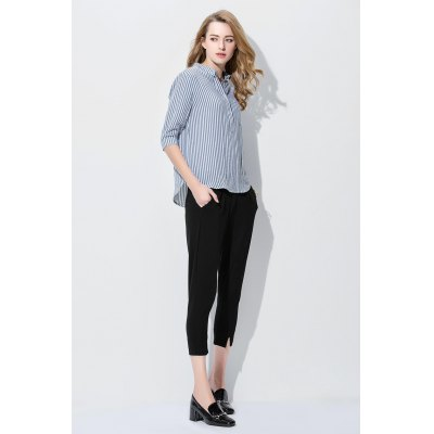 Vertical Striped Shirt Women BlouseBlouses<br>Vertical Striped Shirt Women Blouse<br><br>Collar: Turn-down Collar<br>Elasticity: Micro-elastic<br>Embellishment: Button<br>Material: Cotton, Linen<br>Package Content: 1 x Vertical Striped Shirt Women Blouse<br>Package size (L x W x H): 35.00 x 4.00 x 28.00 cm / 13.78 x 1.57 x 11.02 inches<br>Package weight: 0.3200 kg<br>Pattern Type: Stripe<br>Product weight: 0.2800 kg<br>Season: Spring, Summer<br>Shirt Length: Long<br>Sleeve Length: Short Sleeves<br>Style: Fashion
