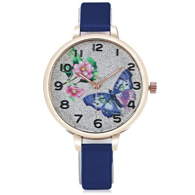 Butterfly Pattern Ladies Quartz Watch with Leather Strap